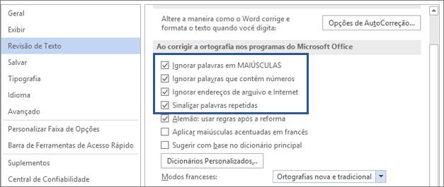 Opções para ignorar palavras durante a verificação ortográfica