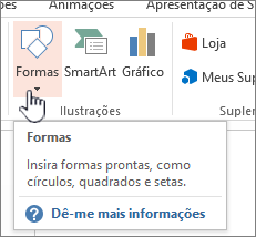 Botão Inserir formas do PowerPoint