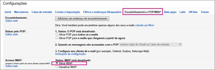 No Gmail, escolha Encaminhamento e POP/IMAP para escolher as configurações POP.