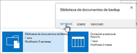 Botão de configurações na caixa de diálogo