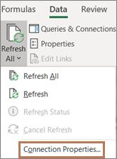 Mouse apontando para o comando Propriedades da conexão na faixa de opções