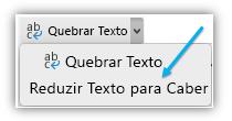 Captura de tela mostrando o botão Reduzir texto para caber na faixa de opções.