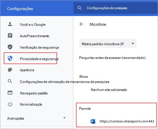 Página de configurações de permissões de microfone para Chrome
