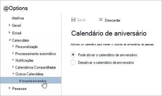 Uma captura de tela do menu de calendários brithday nas configurações