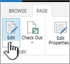 Guia de página com o botão Editar realçado