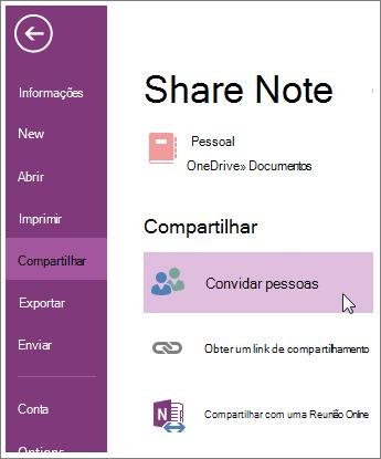 Compartilhar um bloco de anotações com outros