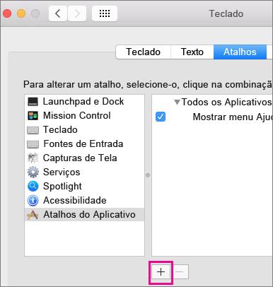 Atalho de teclado personalizado do Office 2016 para Mac