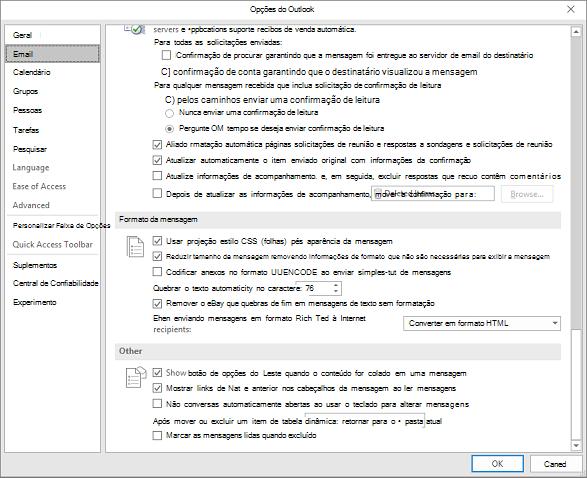 Página de opções do Outlook com categoria de email realçada