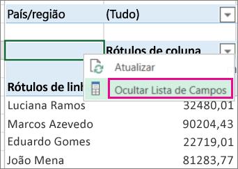 Comando Mostrar Lista de Campos no menu de atalho