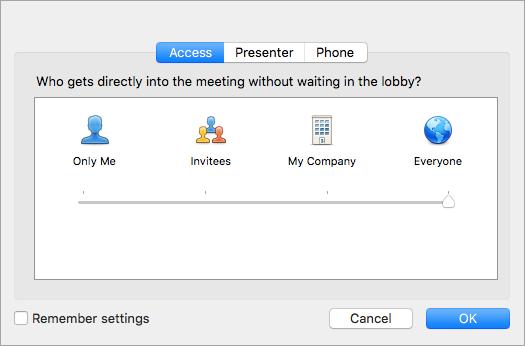 Página Permissões da reunião
