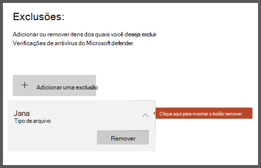 A página exclusões da segurança do Windows mostrando uma exclusão selecionada, revelando o botão remover.