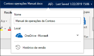 O menu suspenso do título do documento no Word para Office 365