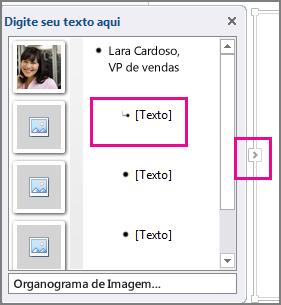 Painel Texto do gráfico do SmartArt com o [Texto] e o painel Texto realçados