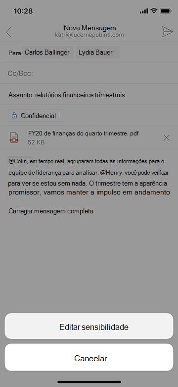 Editar sensibilidade no Outlook mobile