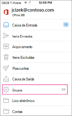 Grupos é um nó na lista de pastas no Outlook mobile