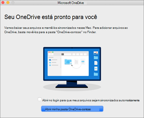 Captura de tela da última tela do assistente Bem-vindo ao OneDrive em um Mac
