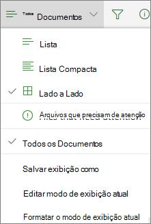 Modo de exibição do Office 365 alterar biblioteca de documentos