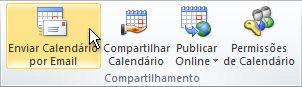 O comando Calendário por Email na faixa de opções