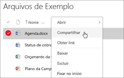 Captura de tela do menu de atalho de um documento com a opção Compartilhar ativa.