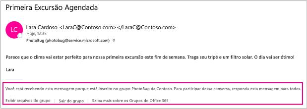 Todos os emails que os membros do grupo enviam aos convidados incluem um rodapé com instruções e links