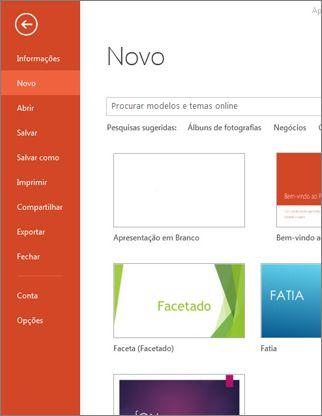A página Novo na guia Arquivo