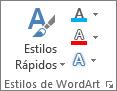 Grupo estilos de WordArt mostrando apenas ícones