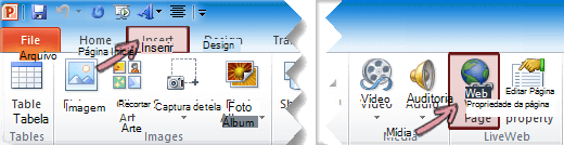 O suplemento LiveWeb está localizado na guia Inserir da Faixa de Opções, na extremidade direita