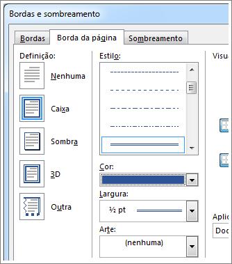 Opções de configuração para bordas de página