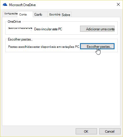 Caixa de diálogo de pastas de escolher do OneDrive