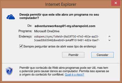 Captura de tela da caixa de diálogo no Internet Explorer solicitando permissão para abrir o Microsoft OneDrive