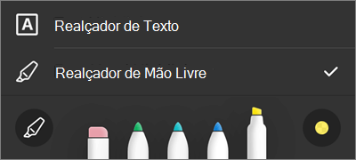 Configurações do marca-texto PDF de marcação do OneDrive for iOS