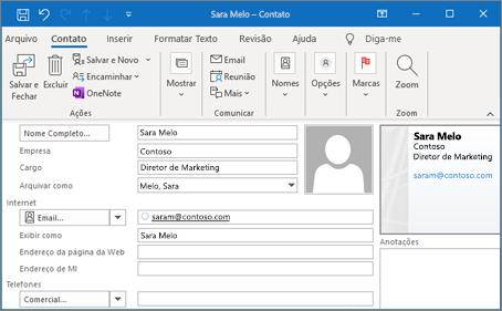 Adicionar um contato no Outlook