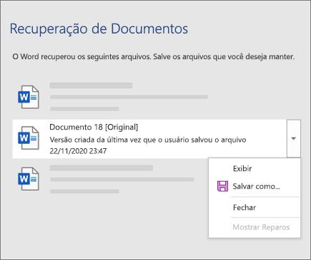 Um documento original salvo pela última vez pelo usuário listado no painel 'Recuperação de documentos'