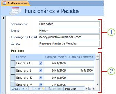 Um formulário que contém um subformulário