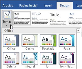Temas do Word do Office 365
