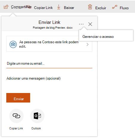 Captura de tela da caixa de diálogo compartilhar com o link gerenciar acesso mostrando depois de clicar nas reticências.
