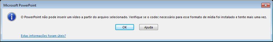 Erro com relação ao codec de compatibilidade de vídeo