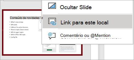 Para exibir o link desse slide, clique com o botão direito do mouse