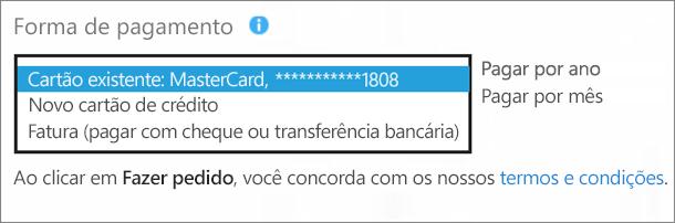 """Captura de tela da seção """"Forma de pagamento"""" da página """"Como você deseja pagar?"""" com a lista suspensa de opções expandida."""
