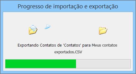 Uma imagem da caixa de andamento da exportação.