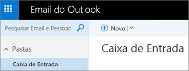 Qual é a aparência da nova faixa de opções do Outlook.com