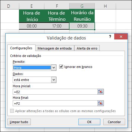 Configurações de validação para restringir a entrada de hora em um período