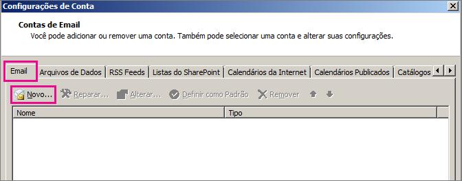 Captura de tela da guia Email da caixa de diálogo Configurações da Conta.