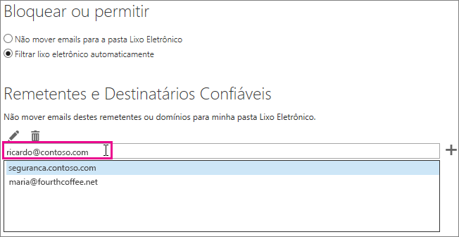 Adicionar um remetente seguro no Outlook Web App