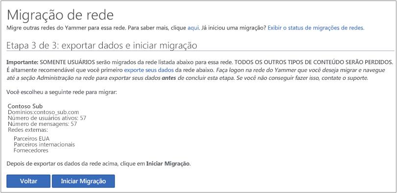 Captura de tela da Etapa 3 de 3: exportar dados e iniciar migração