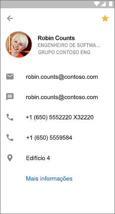 Cartão de perfil com uma estrela amarela para indicar que é um contato favorito