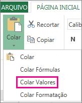 Comando Colar mostrando Colar Valores no Excel Online
