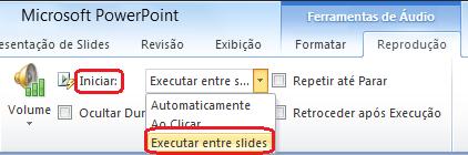 """A opção """"Executar entre slides"""" para um arquivo de áudio no PowerPoint 2010"""