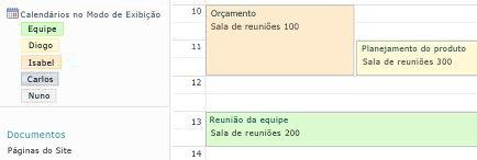 Calendário do grupo com recursos