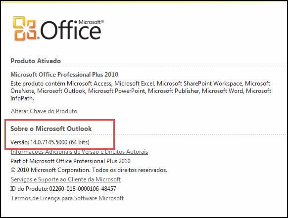 Captura de tela da página onde você pode verificar a versão do Outlook 2010, em Sobre o Microsoft Outlook